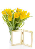 Yellow Tulips with photo frame — Stock Photo