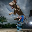 Stock Photo: Dramatic view of jumping Weimaraner dog