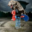 Weimaraner jumping over playground equipment Weimaraner jumping over playground equipment — Stock Photo #15346073
