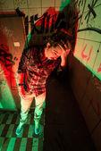 Drunk man in restroom — Stock Photo