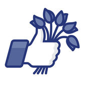 Like/Thumbs Up icon with bunch of flowers — Stock Vector