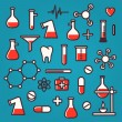 Background of scientific icons with reflection - Stock Vector