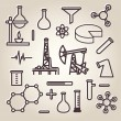 Black line minimalistic science icons set - Stock Vector