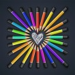 Colored pencils, heart shape, vector — Stock Vector