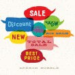 Sale Interactive multicolored bubbles in different sizes and forms — Image vectorielle