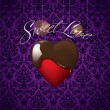 Heart with melted chocolate on background from a floral ornament - Stock Vector