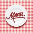 Word Menu - made up of red sauce on a white plate, vector Eps10 illustration. - Stock Vector