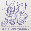 Alphabet In style of the criminal tattoos - Image vectorielle