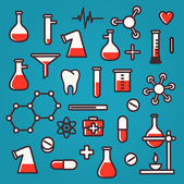 Background of scientific icons with reflection — Stock Vector
