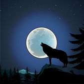 Wolf howling at the full moon — Stock Vector