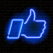 Neon Like Thumbs Up symbol on brick wall background — Stock Vector
