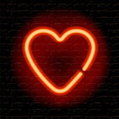 Neon heart on the brick wall — Stock Vector
