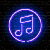 Neon music note on the brick wall — Stock Vector