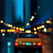 Blurred Defocused Light Car of Heavy Traffic on a Wet Rainy city road at night — Stock Vector
