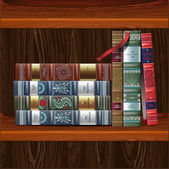 Row of ornamented vintage books, isolated on wood background — Stock Vector