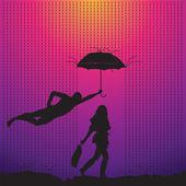 Hombre está protegiendo a una mujer con un paraguas — Vector de stock