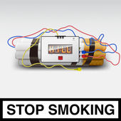 Stop smoking - cigarette bomb — Stock Vector