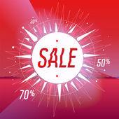 Cartel de venta con estrellas sobre fondo rojo, ilustración vectorial eps 10. — Vector de stock