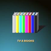 Rij van boeken gemaakt tv - kleurrijke geen signaal achtergrond, vector eps10 afbeelding. — Stockvector