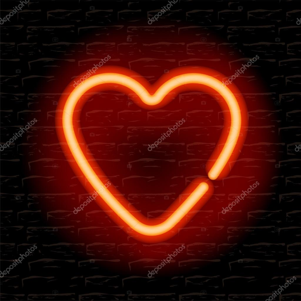 Neon heart on the brick wall — Stock Vector #18203165