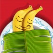 Funny sleeping bananas on a plate — Stock Vector