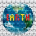 contorno de planeta Terra feito de mosaico — Vetorial Stock