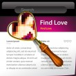 A magnifying Glass is searching the internet and love website template - Stock Vector