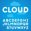 Clouds alphabet on a blue sky background - Stock Vector