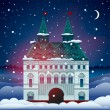 Christmas card with house — Image vectorielle