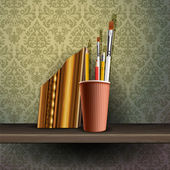 Different art brushes and pencils in flask on the shelf — Stock Vector