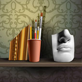 Davids nose and different art brushes, pencils in flask on the shelf — Stock Vector