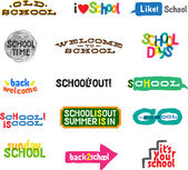 Label - School Icons — Stock Vector