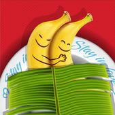 Funny sleeping bananas on a plate — Stock Vector