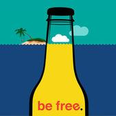 Summer bottle in the sea — Stock Vector