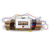 Explosives with alarm clock, detonator — Stock Vector