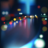 Blurred Defocused Lights of Heavy Traffic on a Wet Rainy — Stock Vector