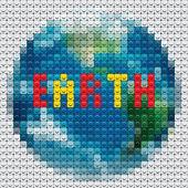 Contorno de planeta tierra de mosaico — Vector de stock