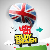 Let's go study English — 图库矢量图片