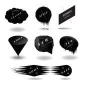 Bocadillo de diálogo negro moda set, — Vector de stock