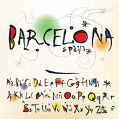 The alphabet in style of the Spanish artist of Joan Miro — Stock Vector