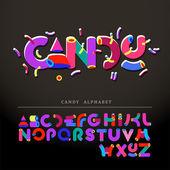 Stylized candy-like alphabet — Stock Vector