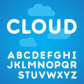 Alfabeto de nuvens em um fundo de céu azul — Vetor de Stock
