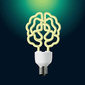 Idea energy bulb brain — Stock Vector