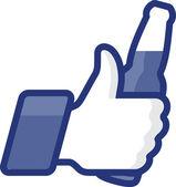 像啤酒瓶带符号图标竖起大拇指 — 图库矢量图片