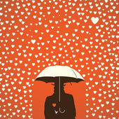 Men under umbrella on hearts shapes rainy background for Valentines Day — Stock Vector