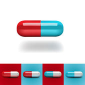 Pills in red and blue — Stock Vector