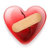 Corazón con yeso aislado sobre fondo blanco — Vector de stock