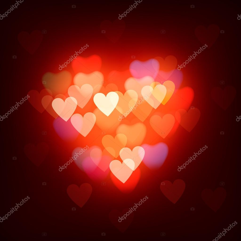 Blurred background with hearts, vector Eps10 image. — Imagen vectorial #19055387