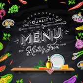 Vector set of design elements for the menu on the chalkboard — ストック写真
