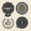 Vintage set premium quality and guarantee labels — Stock vektor